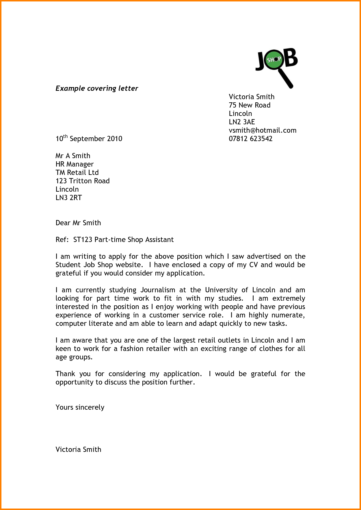 cover letter for student part time job example letters availability related post date  cover letter