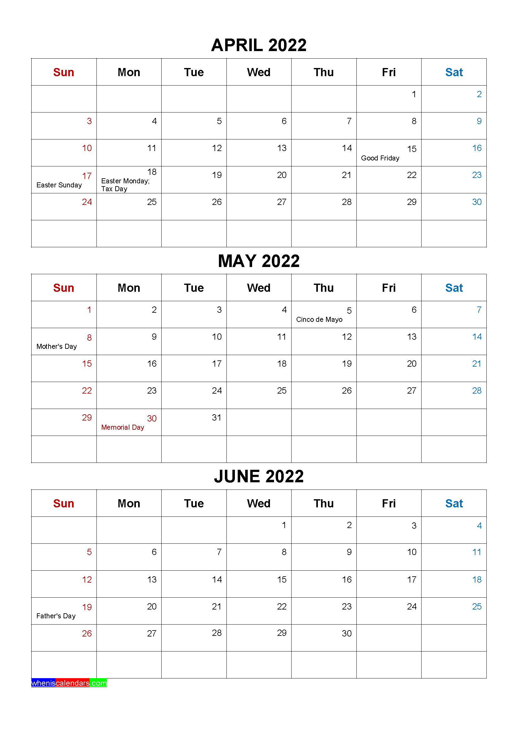 April May 2022 Calendar.Free April May June 2022 Calendar With Holidays Four Quarters Calendar Printables Calendar Template Free Printable Calendar