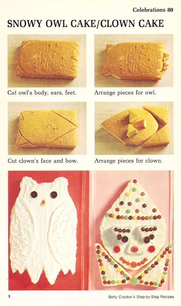 snowy owl cake and clown cake vintage recipe cards celebration