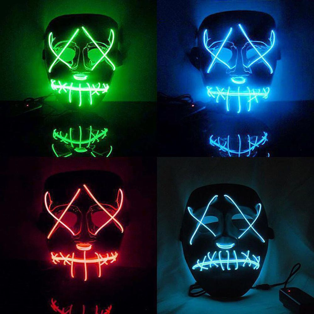 The Purge Movie EL Wire DJ Party Festival Halloween Costume LED Mask ...