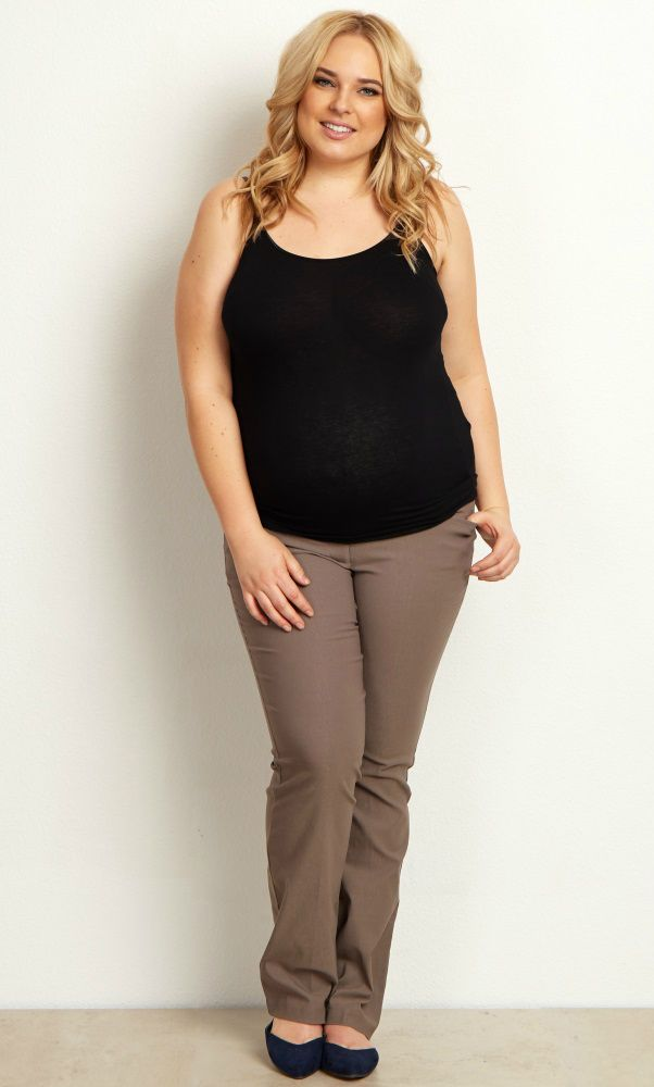 Taupe Straight Leg Plus Size Maternity Dress Pants Bump Style