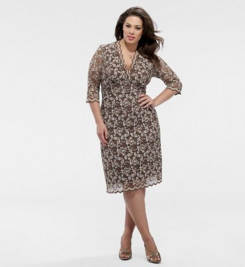plus size lace dresses with sleeves | Plus Size Sleeved Scalloped ...