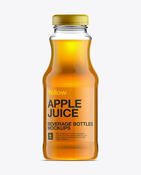 glass bottle w apple juice mockup preview soft drink