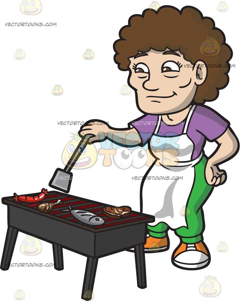 White apron meats - An Elderly Woman Turning Over The Grilled Meats Grilled Meatwhite Apronpurple