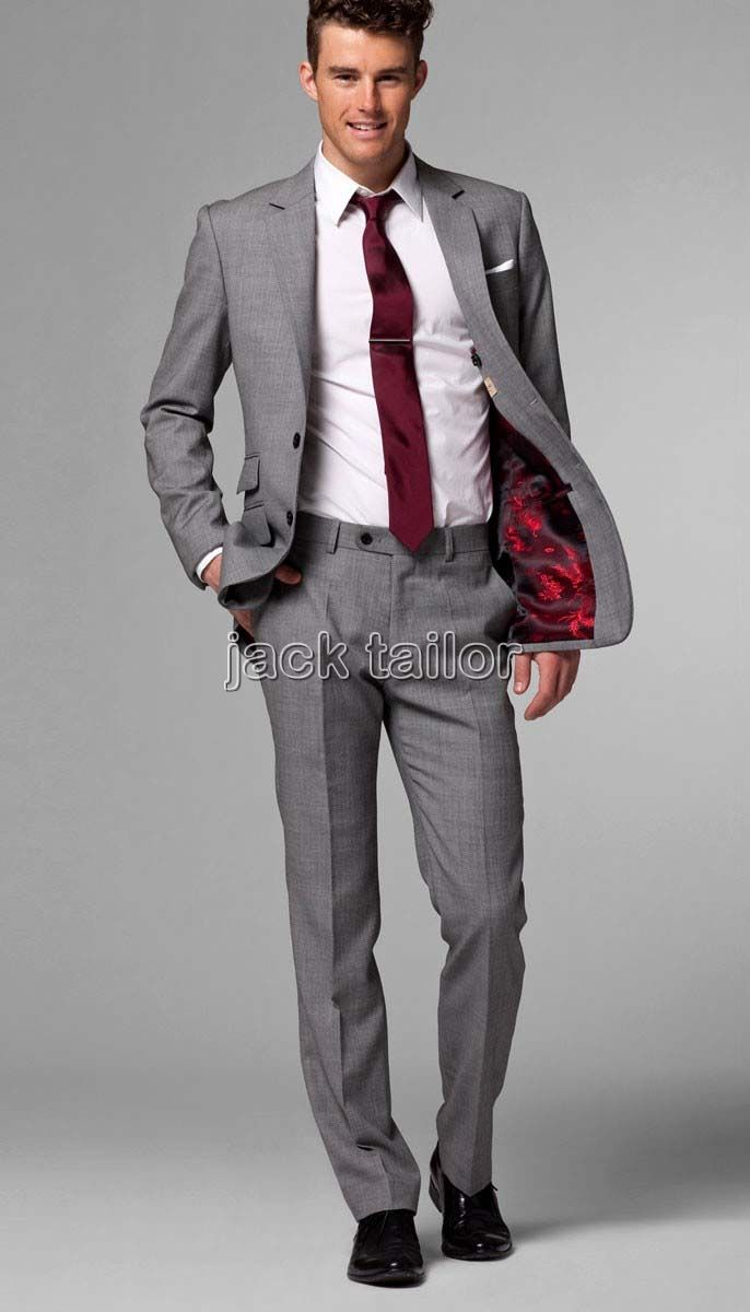 Mens Fashion Grey Pants Brown Shoes
