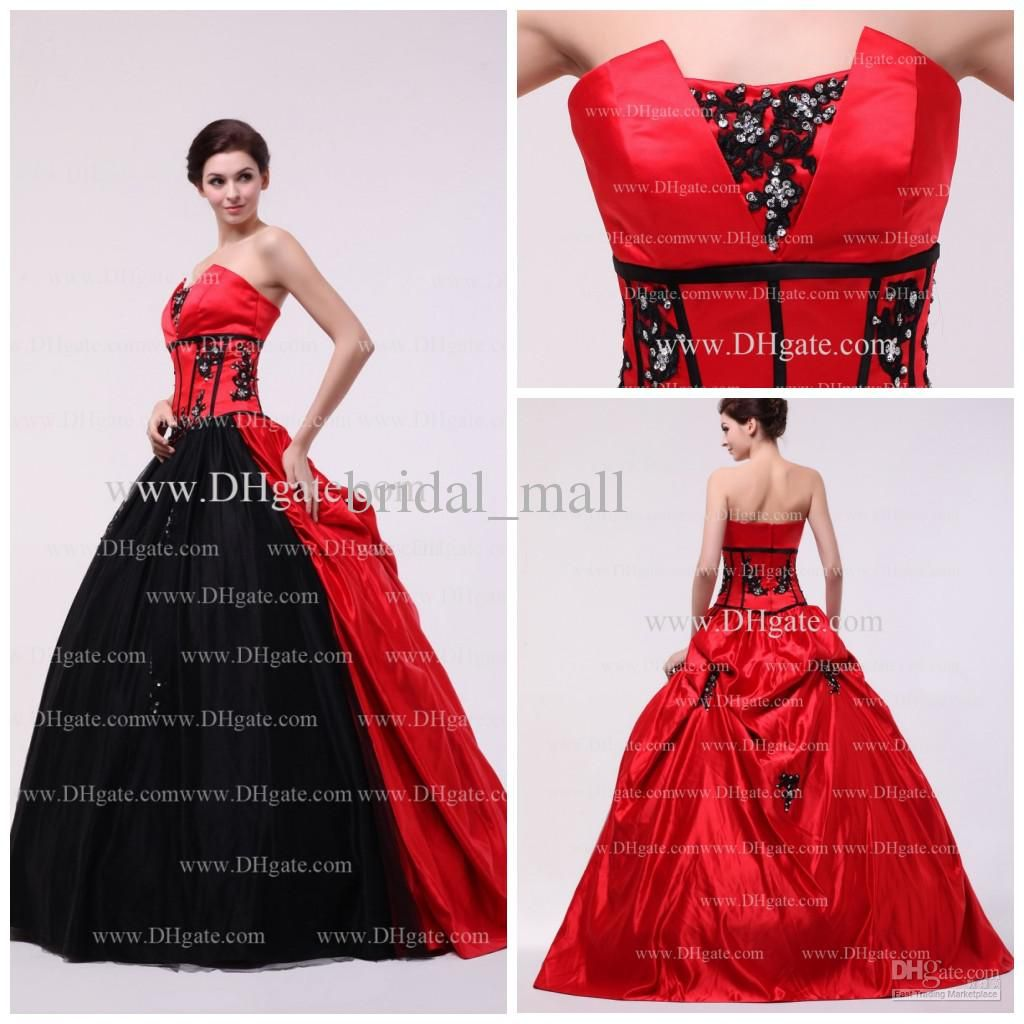 Wholesale Fashion black lace applique strapless puffy ball gown hot ...
