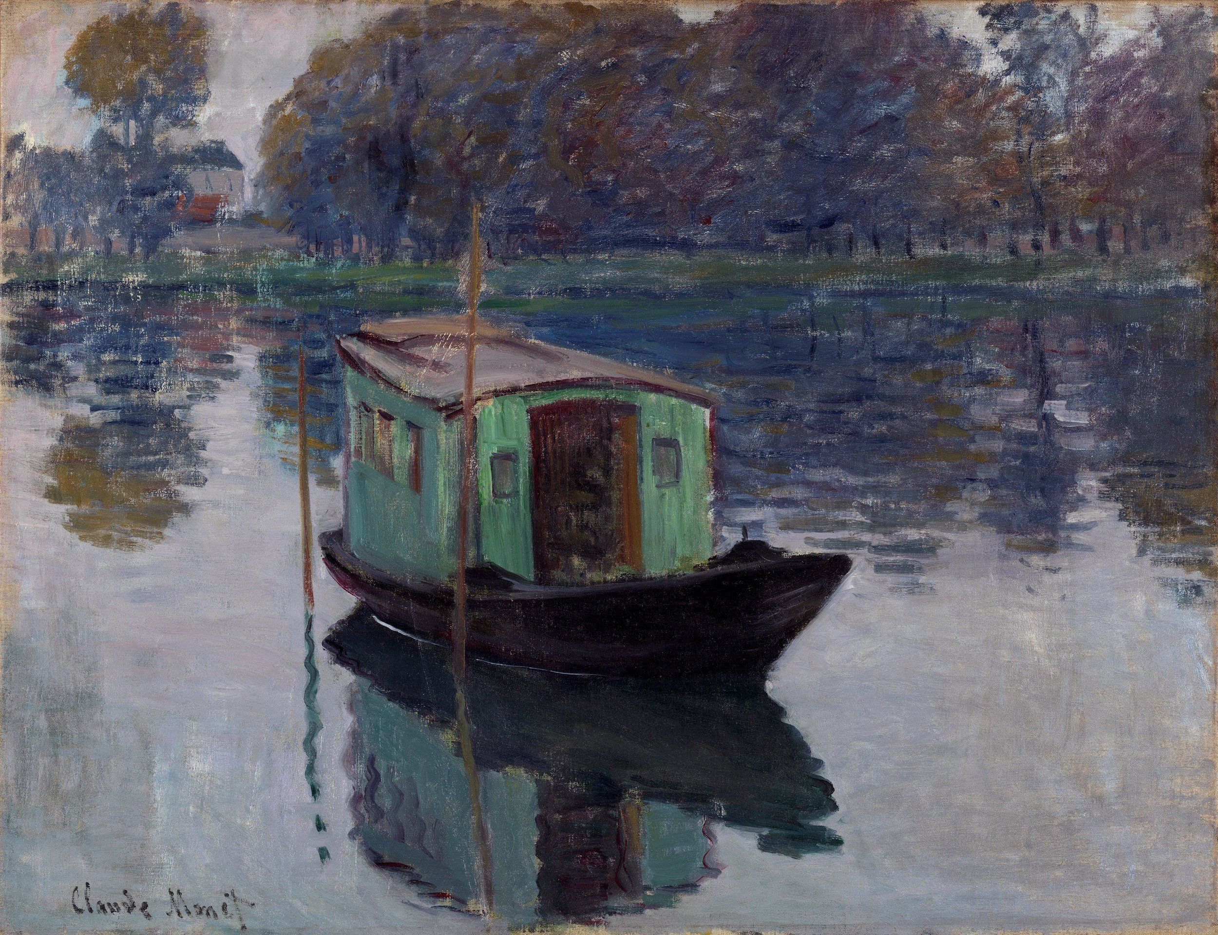 The Studio Boat by Claude Monet - Famous Art - Handmade Oil Painting on  Canvas — Canvas Paintings | Monet art, Monet oil paintings, Claude monet  paintings