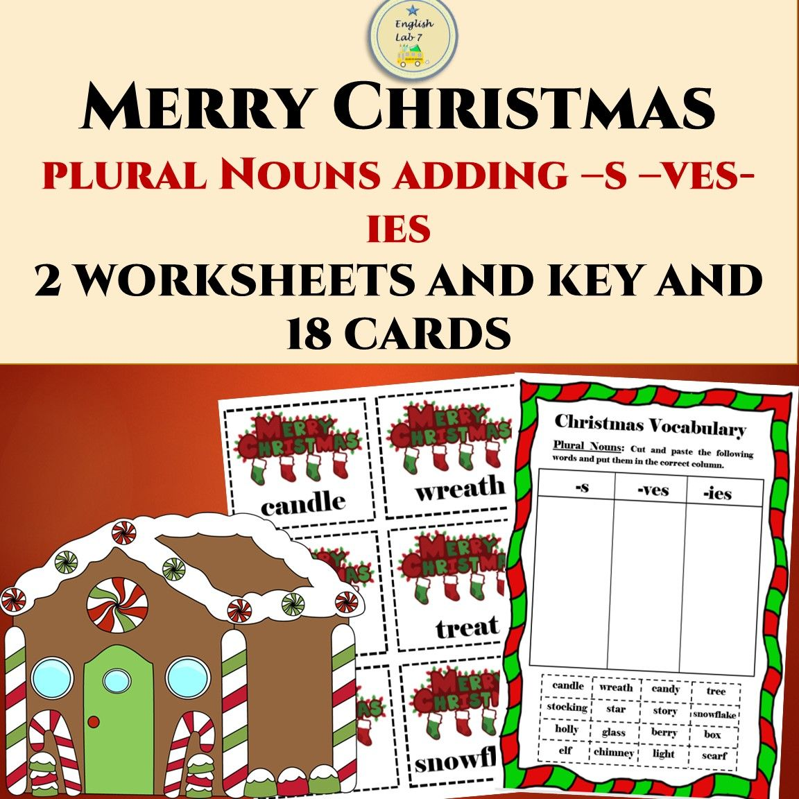 Christmas Plural Nouns Adding S Ves Ies