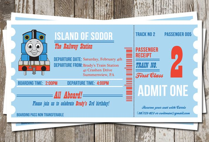 10 die cut thomas train ticket invitations with envelopes. free, Party invitations