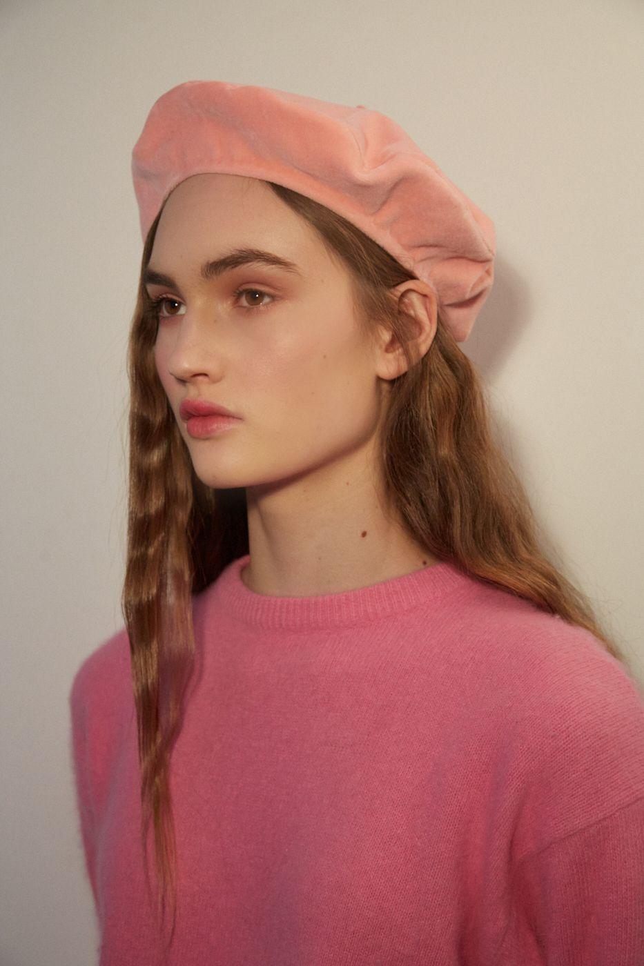 2395b16c280be5 LINDA Pink velvet beret, velvet beret, cotton velvet beret, pink beret hat,