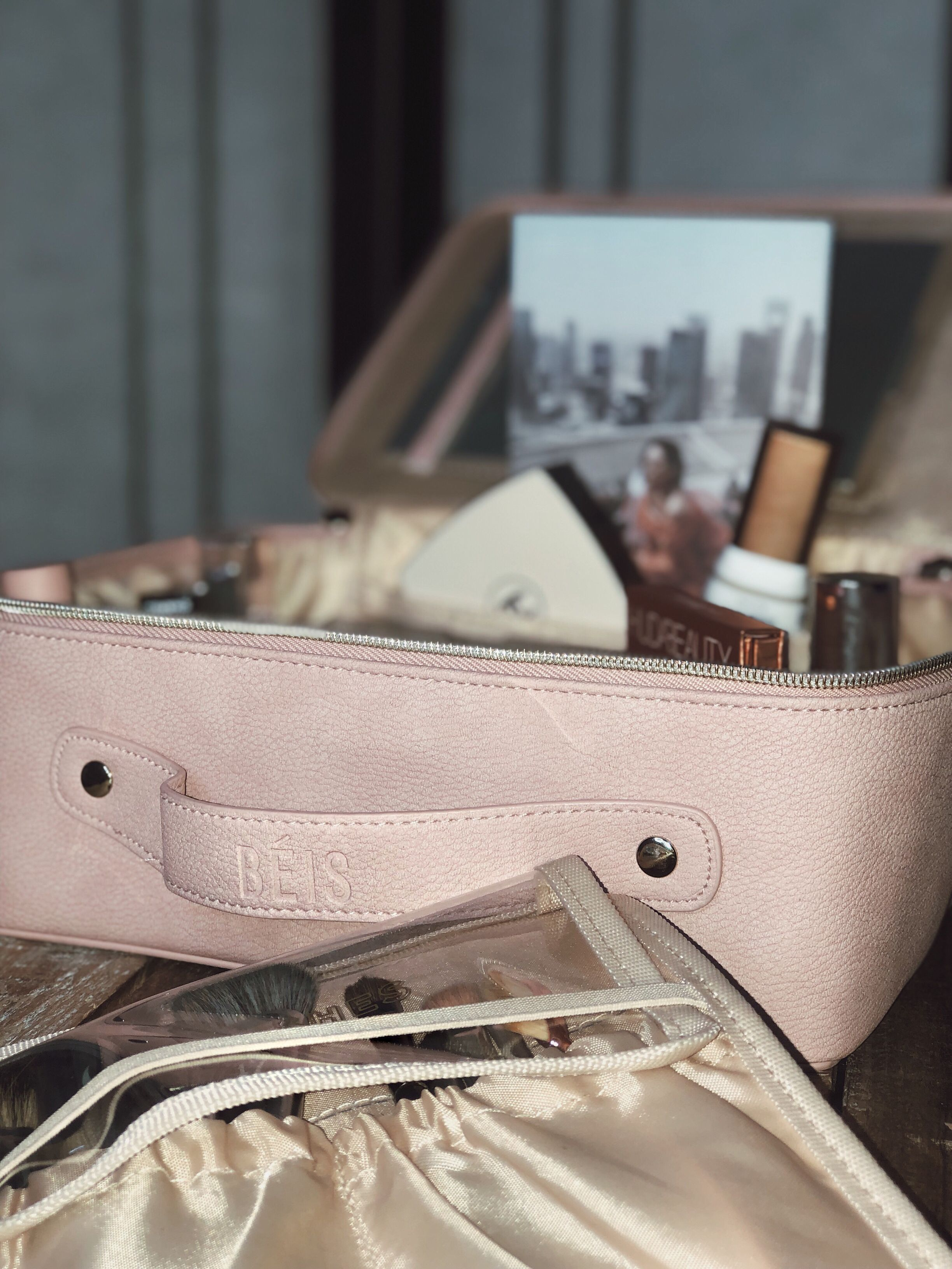Shay Mitchell Makeup Bag, Béis Travel Cosmetic Bag in Rose