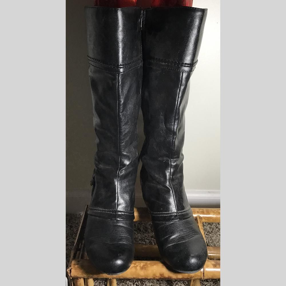 "BARE TRAPS boots WOMEN black wide calf 14"" overall height 2.5"" heels zips down 