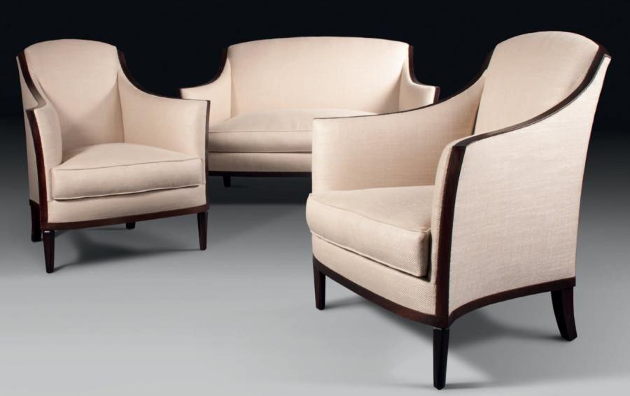 Jean-Michel FRANK (1893-1941) Paire de fauteuils et canapé en ...