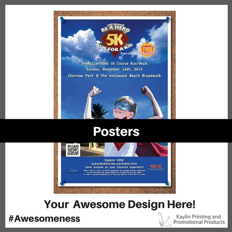 Posters printed and personalized with your custom imprint or logo.