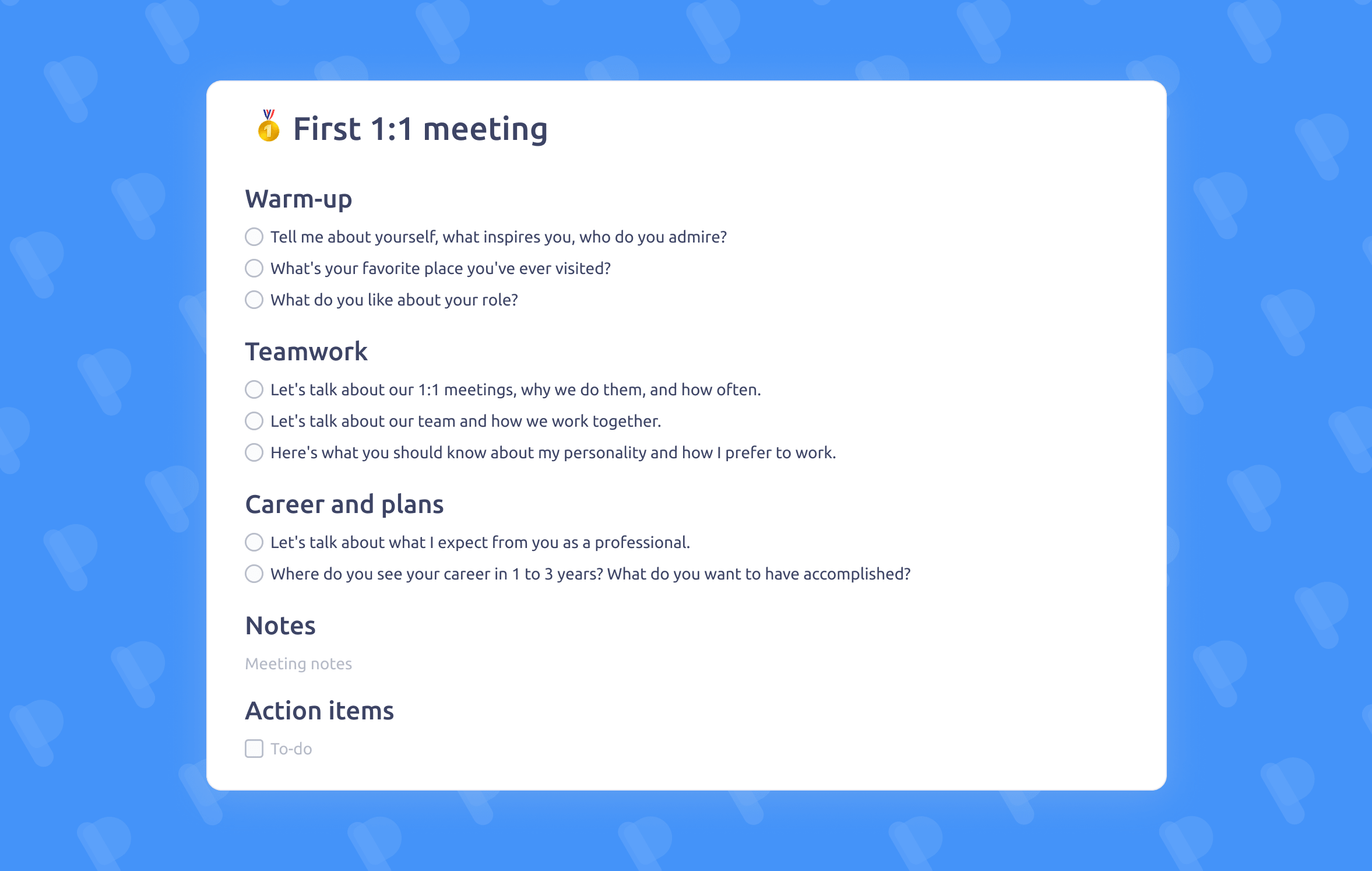 First One On One Meeting Template Meeting Agenda Template Career Growth Agenda Template