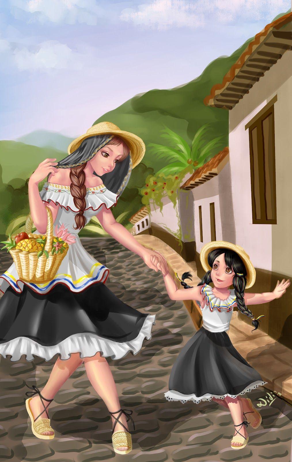 campesina y niña, ilustración muy bonita