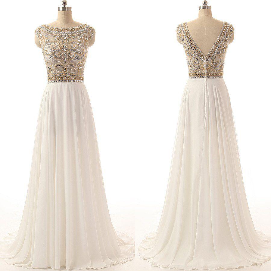 Long prom dresscharming prom dresswhite prom dress prom dress