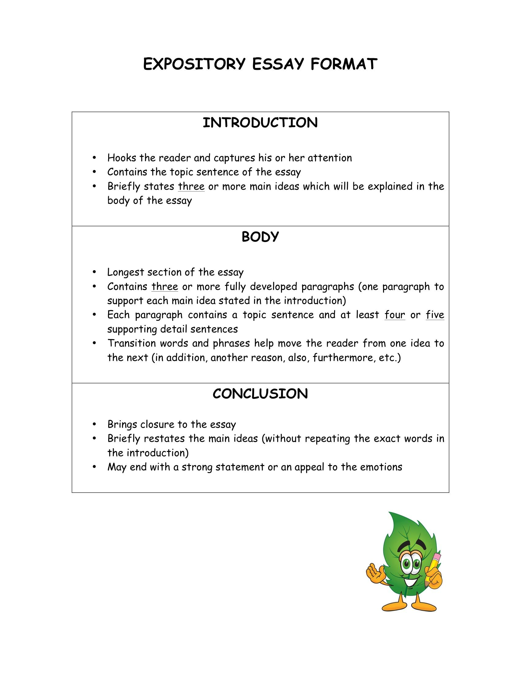 Expositary essay structure