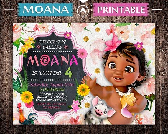 Baby Moana Invitation Moana Baby Birthday Baby Moana