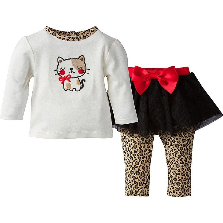 27e168c60 Your little girl will look adorable in this fun girls' 2-piece essentials  set from Gerber! The long sleeve shirt and pair of tutu leggings will  quickly ...
