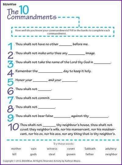 Catholic Ten Commandments For Kids : catholic, commandments, Blanks, Commandments), Re-type, Adapt, Catholic, Commandments, Time....…, Sunday, School, Kids,, Bible, Lessons
