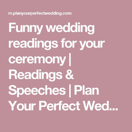 Funny wedding readings for your ceremony | Funny weddings, Perfect ...