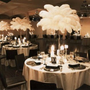 Awesome Tall Feathered Art Deco Centerpieces