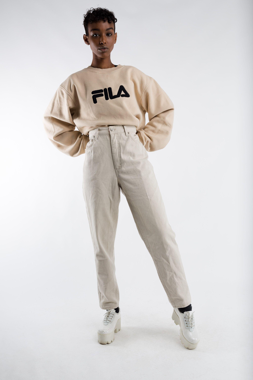 gros en ligne revendeur acheter pas cher Vintage highwaist mom jeans / 90s high waisted beige jeans ...