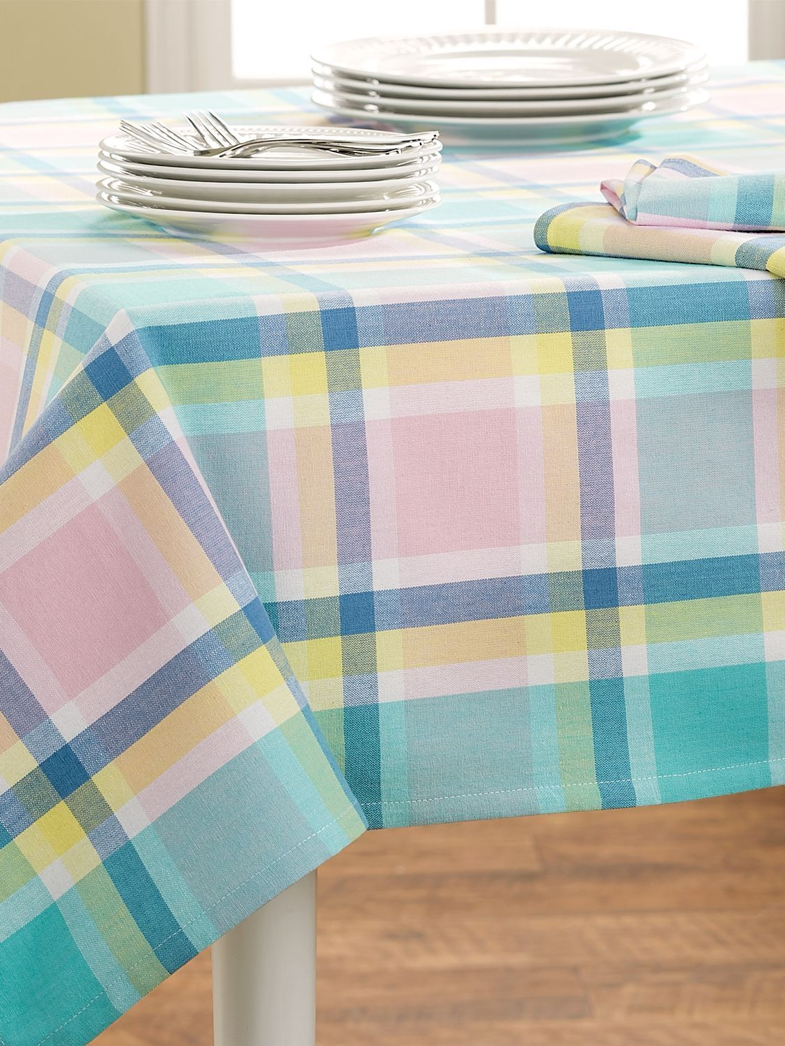 Pastel Plaid Cotton Tablecloth Plaid Tablecloth Table Cloth Cotton Tablecloths