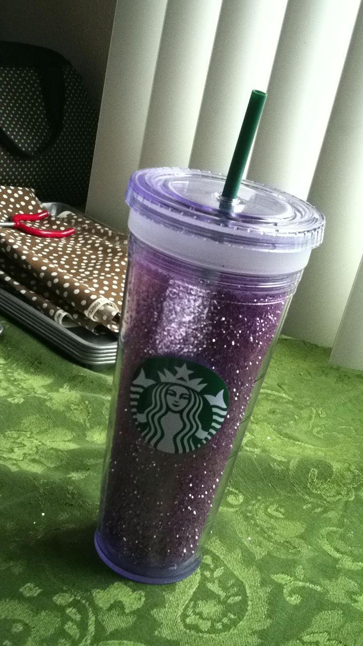 I put glitter inside the inner layer of my Starbucks mug!!! Love love!!!