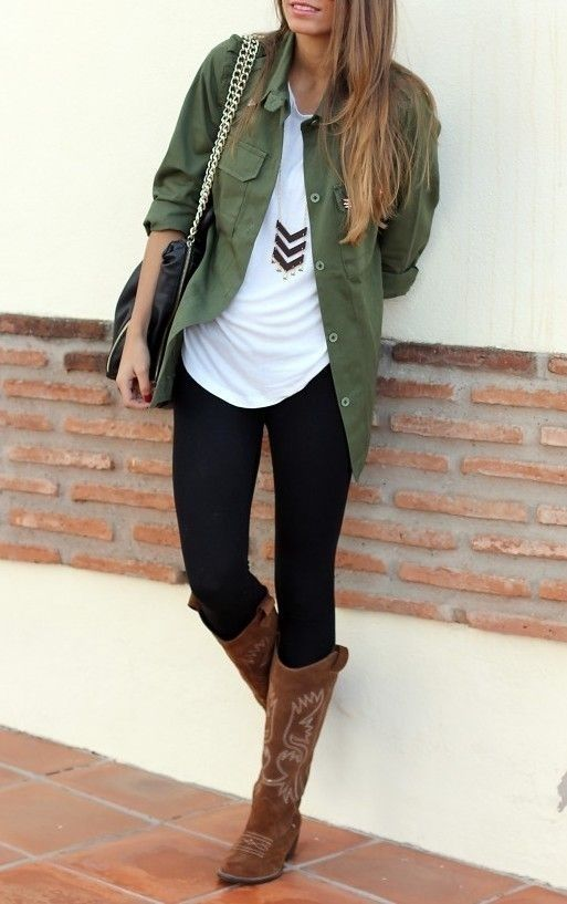 Vintage Outfit Idea Style with Leggings | Brown cowboy boots Green tops and Fall winter fashion