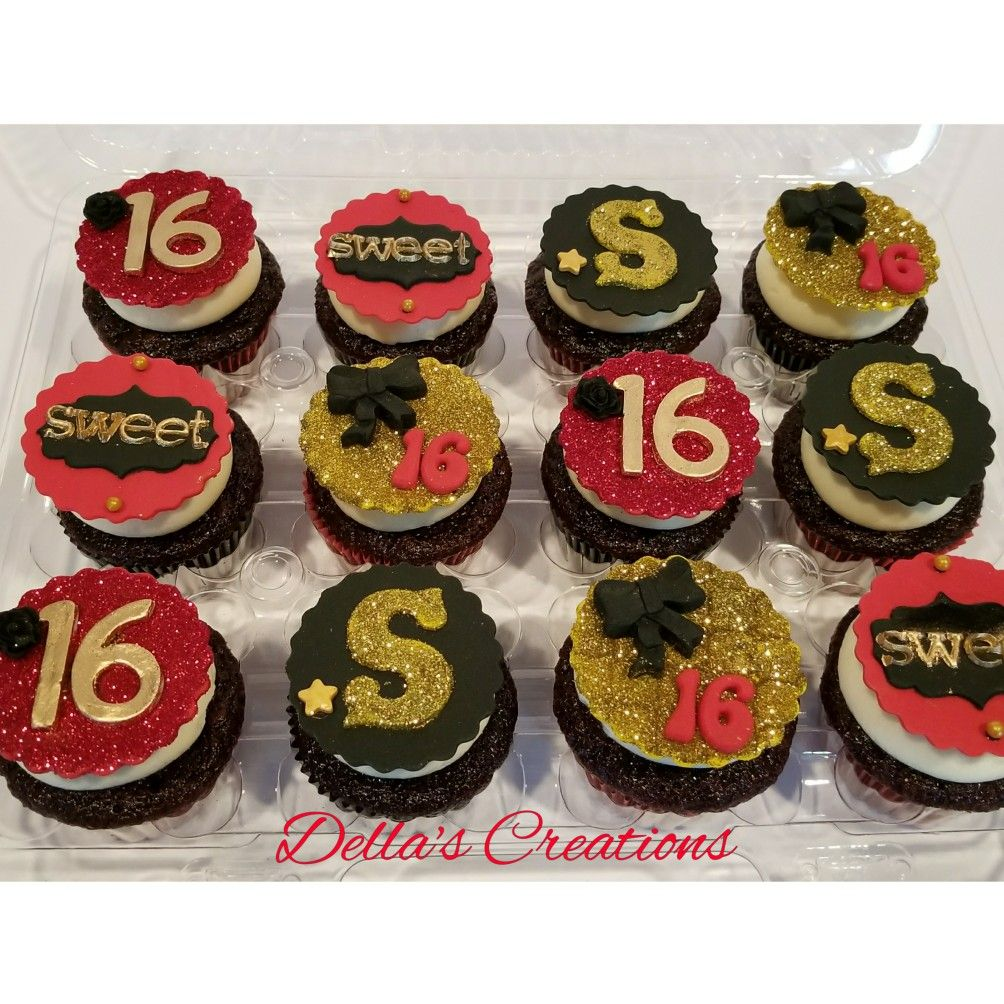 Sweet Sixteen Red Black And Gold Cupcakes With Fondant Toppers