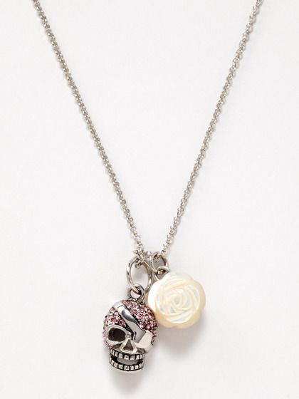 Jan Leslie - Skull and Mother of Pearl Rose Necklace - $105.00
