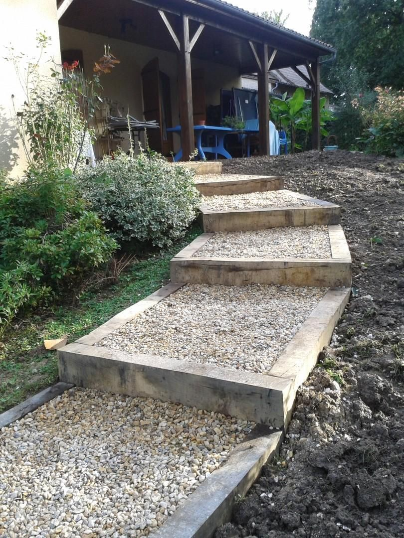 Am nagement de gradines jardin en pente sloping garden for Escalier paysager entree maison