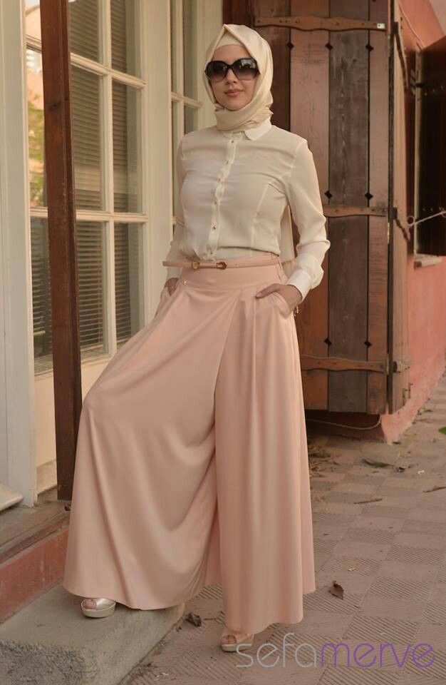 pastels wide leg pants with hijab