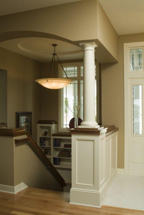 Lighting Basement Washroom Stairs: Like The Wall Color And Half Column