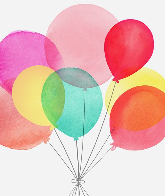 Margaret Berg Art Balloons Bouquet Pinks Birthday Illustration