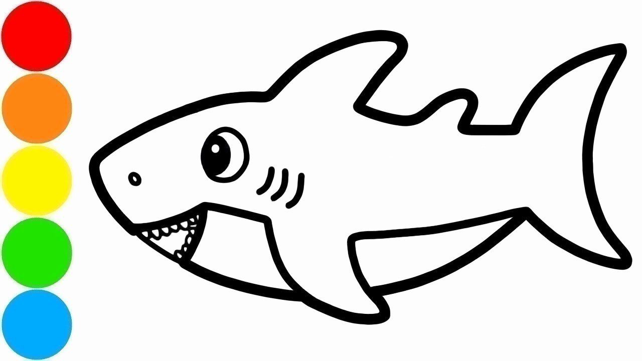 Baby Shark Coloring Page Luxury Baby Shark Drawing And Coloring For Kids With Paint Shark Coloring Pages Coloring Pages Paw Patrol Coloring Pages