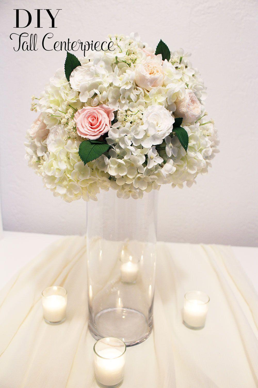 DIY Tall Centerpiece | Hydrangea, Centrepieces and Wedding