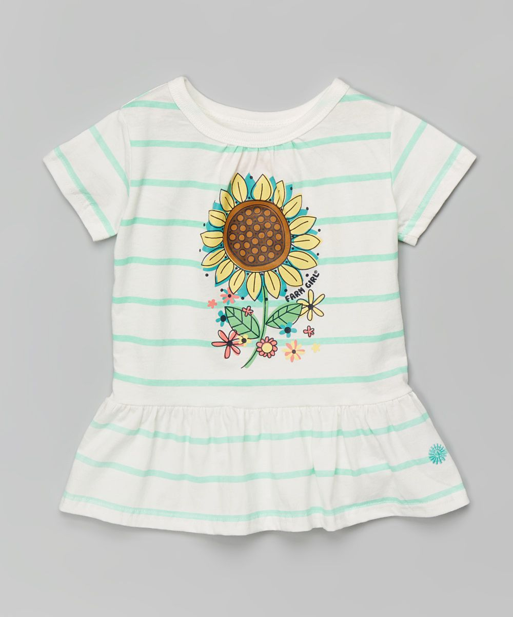 Mint green stripe sunflower peplum top infant u toddler products