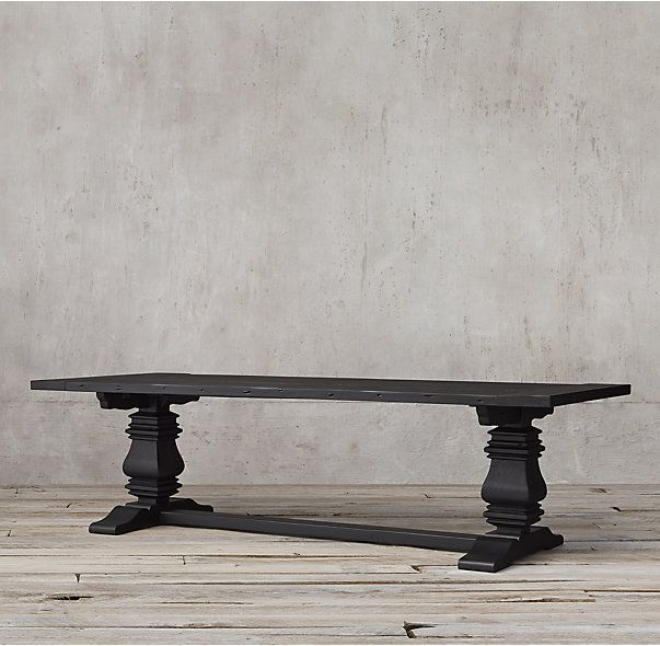 Salvaged Wood Trestle Rectangular Extension Dining Table Dining