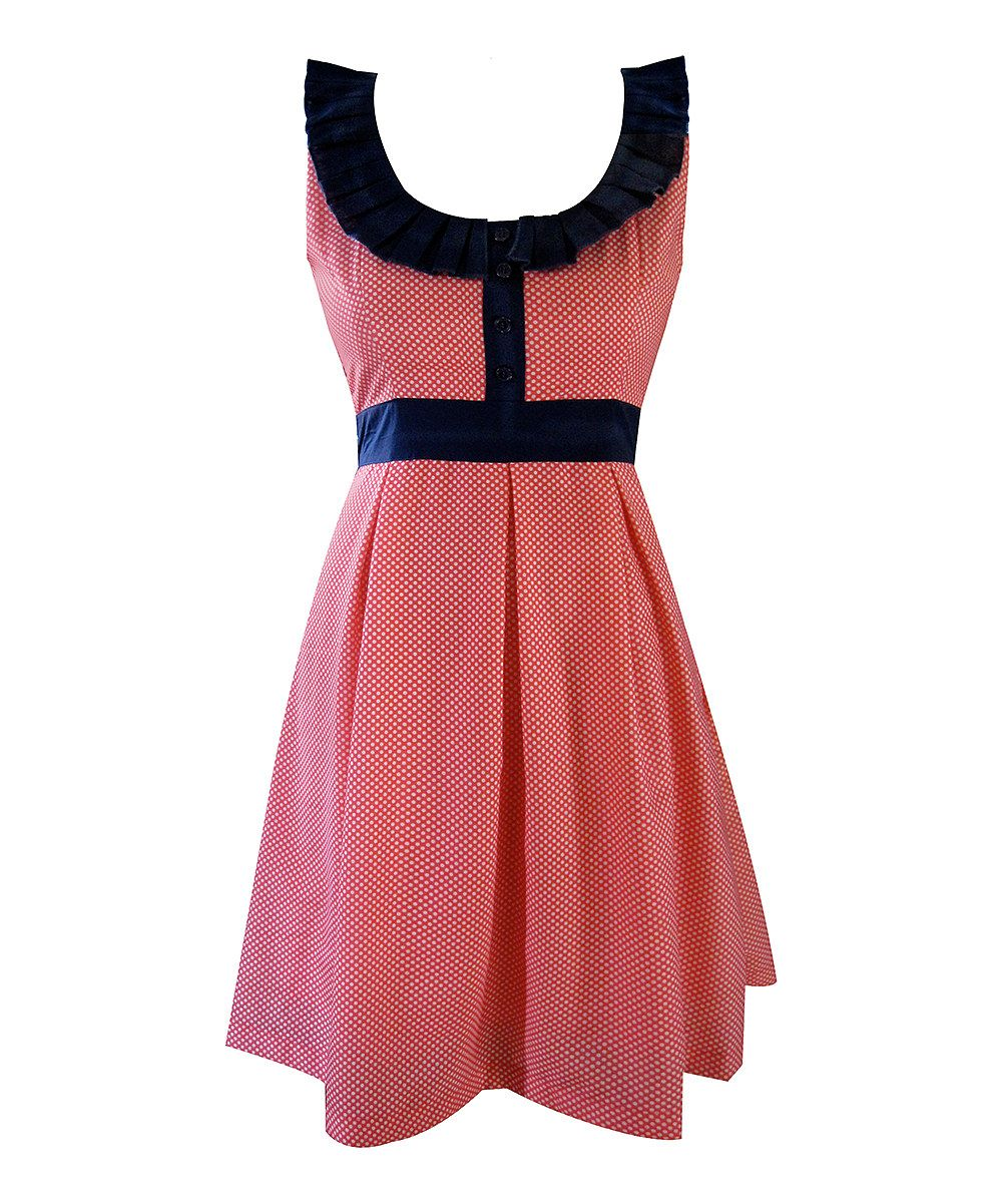 Eucalptus: Red & Navy Spotted Dress