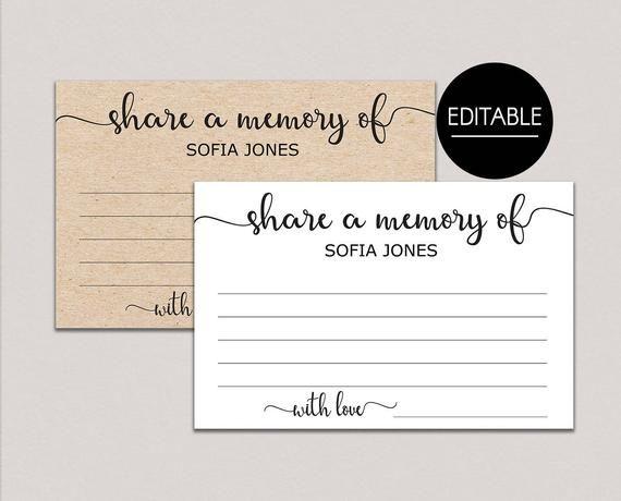 Share A Memory Card Memory Cards Share A Memory Printable Etsy Memorial Cards For Funeral Memorial Cards Memory Cards