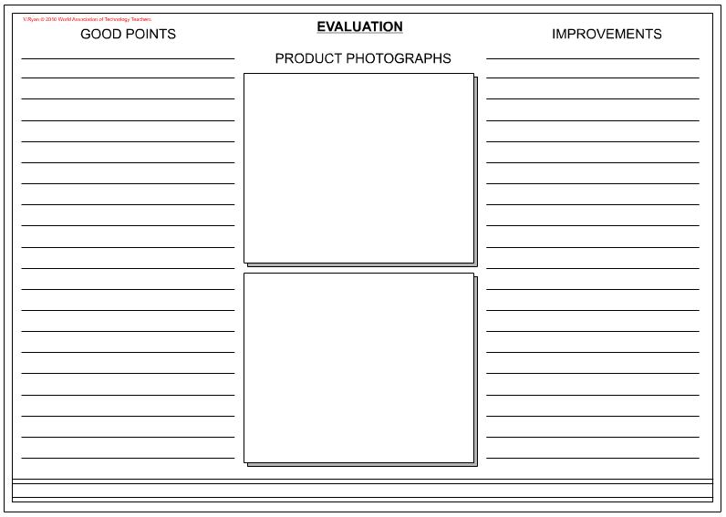 Design  Technology An Evaluation  Evaluation Worksheet Design