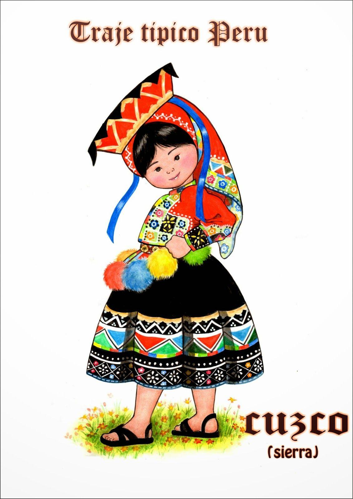 Dibujo a Lpiz Traje Tpico Sierra Peru  nios de mi mundo