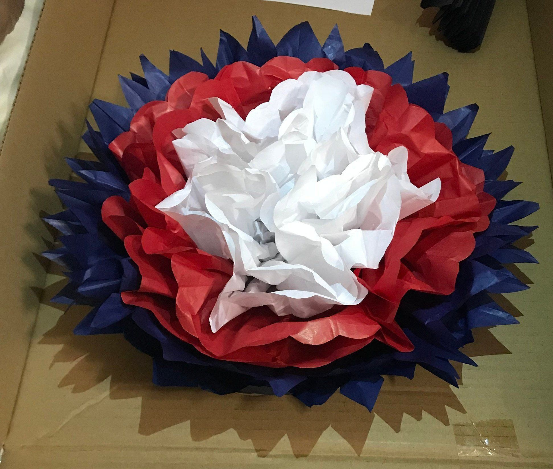 Red White & Blue Tissue Paper Flowers Veteran's Day Memorial Day 4th of July Pom Poms #veteransdaydecorations