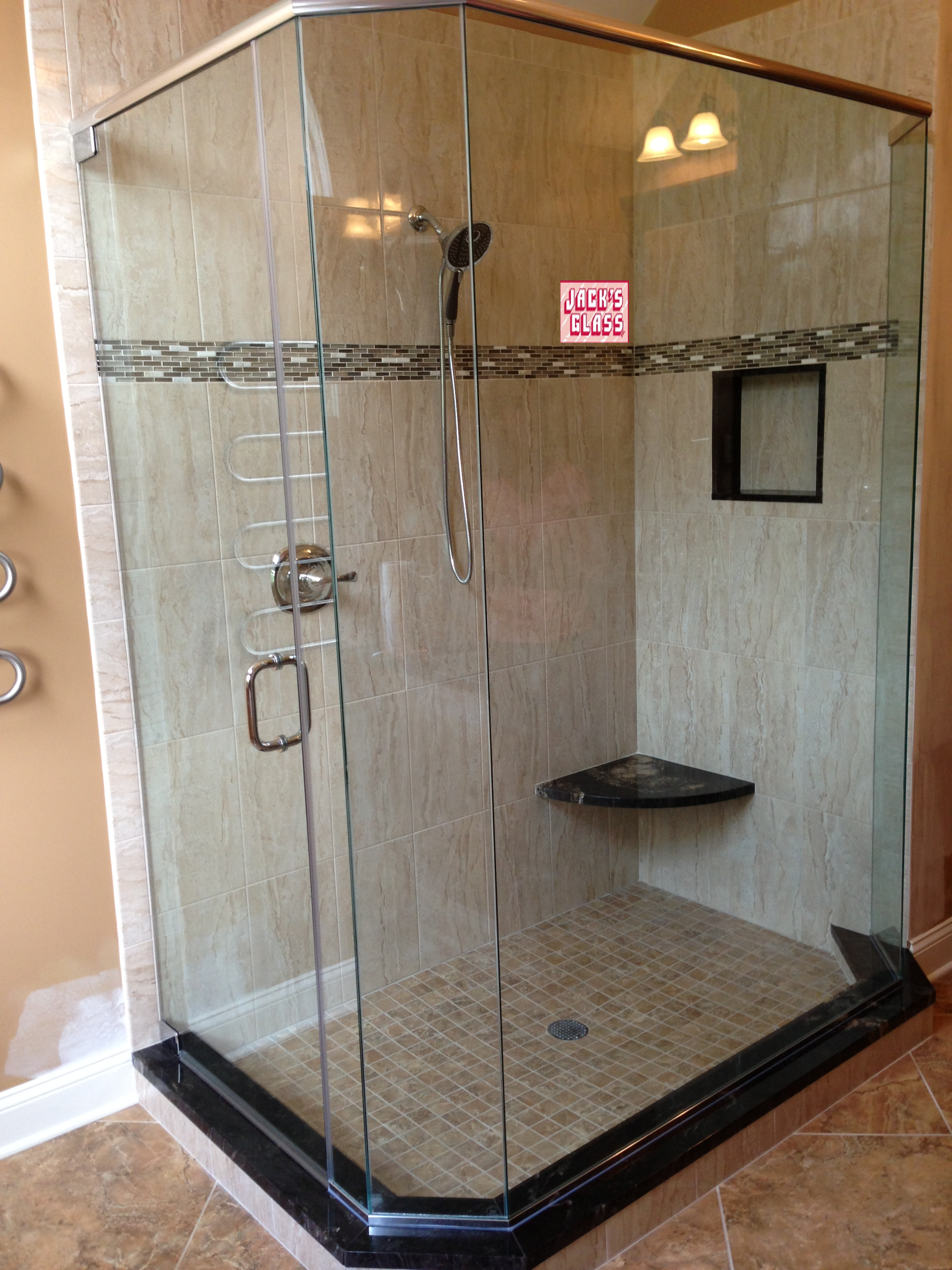 neo-angle frameless shower enclosure with header | Shower Doors in ...