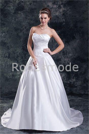Robe de mariée blanche décorée d´applique en taffetas sans bretelles