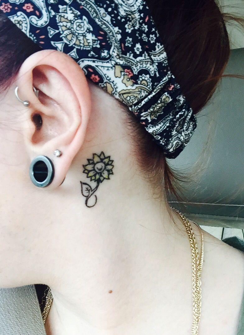 My sunflower behind ear tattoo Sunflower tattoo