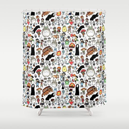 Kawaii Ghibli Doodle Shower Curtain This Would Be Even Cuter As Wellies Or An Umbrella Both